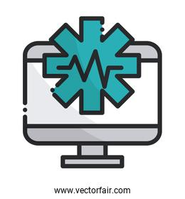 computer digital health care equipment medical line and fill icon