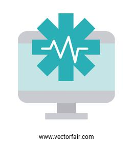 computer digital health care equipment medical flat style icon