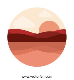 landscape nature panoramic water sun flat style icon