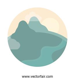 landscape nature with hills and river flat style icon