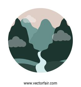 landscape nature mountains and river valley flat style icon