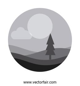 landscape nature pine tree forest hills night flat style icon