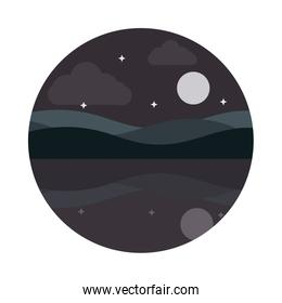 landscape nature moon stars hills reflection water flat style icon