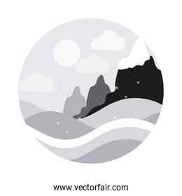 landscape nature hills mountain snow falling winter flat style icon