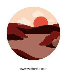 landscape nature sunset hills river countryside flat style icon