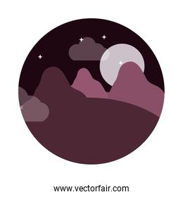landscape nature moon night stars mountains panoramic flat style icon