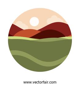 landscape nature sun sky hills field panoramic flat style icon