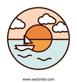 landscape nature ocean sunset sailboat line and fill icon