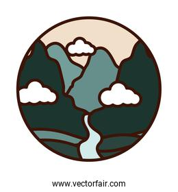 landscape nature mountains and river valley line and fill icon
