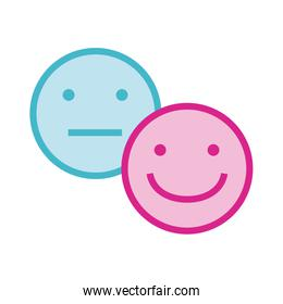sad and happy emoticons faces line and fill style