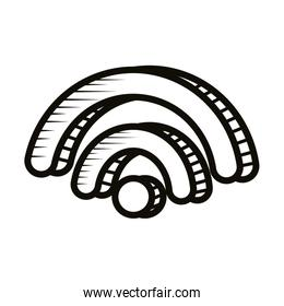 wifi signal doodle line style icon