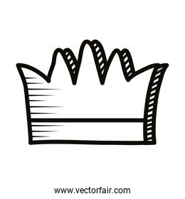 queen crown doodle line style icon