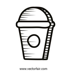 sweet coffee in plastic pot doodle line style icon