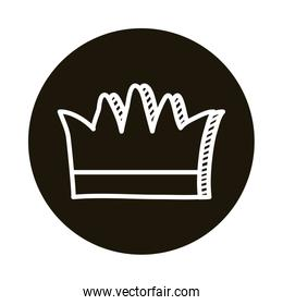 queen crown doodle block style icon