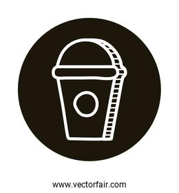 sweet coffee in plastic pot doodle block style icon