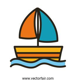 sailboat ship line and fill style icon
