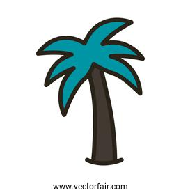 tree palms summer line and fill style icon