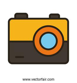 camera photographic line and fill style icon