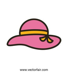 female summer pink hat line and fill style
