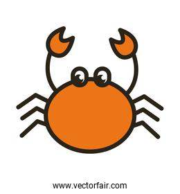 crab sea animal line and fill style icon