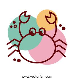 crab sea animal line and color style icon