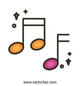 music note sound line and fill style icon