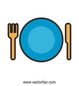 dish with fork and knife line and fill style icon