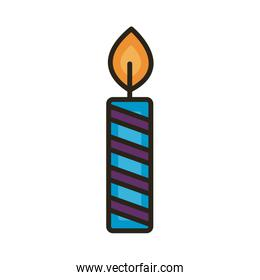 candle fire year line and fill style icon