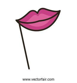 lips female accessory line and fill style icon