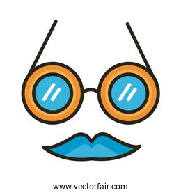 crazy glasses fools day line and fill style icon