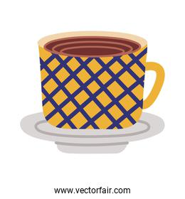 dish and ceramic cup with grid flat style icon