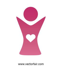 mother with heart figure silhouette degradient style