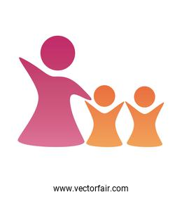 mother with daughters figures silhouettes degradient style