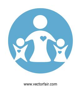 mother with kids figures silhouettes block style