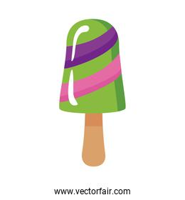 delicious ice cream in stick with three flavors flat style