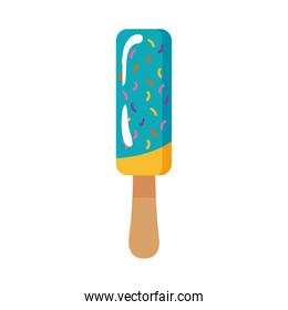 delicious ice cream in stick with two flavors flat style
