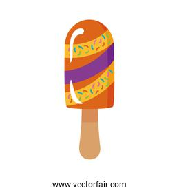 delicious ice cream in stick with various flavors flat style