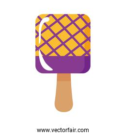 delicious square ice cream in stick with grid flat style icon