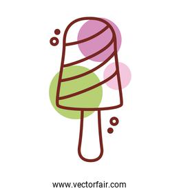 delicious ice cream in stick with three flavors line color style