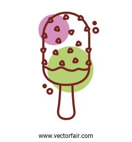 delicious ice cream in stick with chips line color style icon