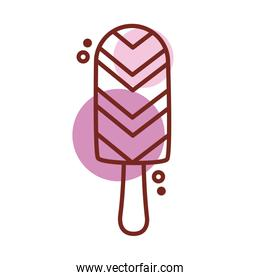 delicious ice cream in stick with various flavors line color style