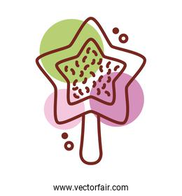 delicious ice cream in stick with star shape line color style