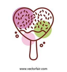 delicious ice cream in stick with heart shape line color style