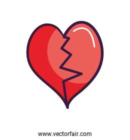 heart with a broken line in the middle, line color style