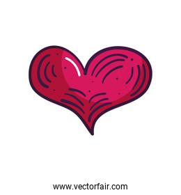 heart with decorative lines icon, line color style