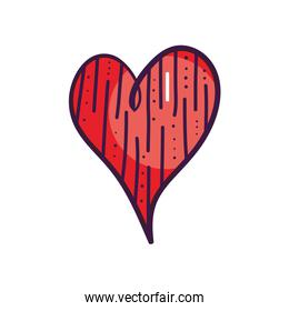heart with decorative lines, line color style