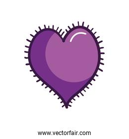 heart with frame of lines, line color style