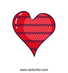 heart with zig zag lines design, line color style