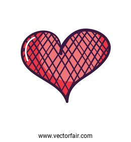heart with crossed lines design, line color style