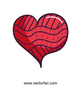 heart with abstract lines, line color style